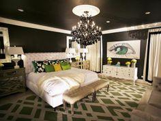 Black walls in a bedroom designed by David Bromstad