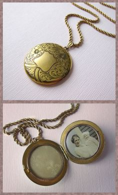 Large Antique Victorian  Locket H.A. & Co. Horton and  Angell  Pendant . Crest and Flowers . Gold Filled Pendant  Necklace