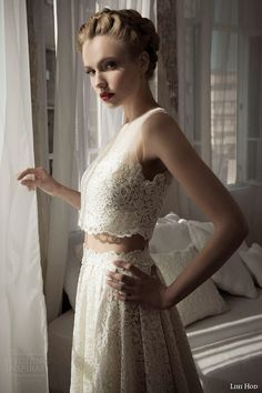 Julie M, a maxi skirt + midriff-revealing #CroppedTop,  #Lace Wedding Dress from Lihi Hod SS 2014 Bridal Collection