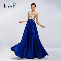Dressv Long Royal Blue Evening Dress Elegant A-Line Sheer Jewel Beaded Sequins Cap Sleeves Keyhole Prom Dress Formal Party Gowns