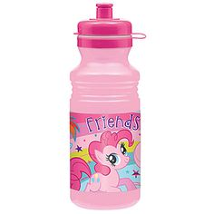 This adorable My Little Pony Friendship Water Bottle has a pink background featuring Pinkie Pie and her friends.