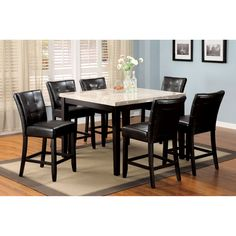Furniture of America Perican 7-piece Genuine Marble Counter Height Dining Set (Espresso (Brown)), Size 7-Piece Sets