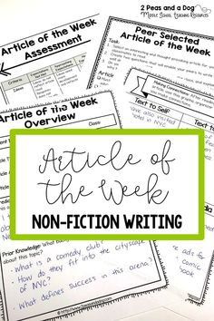 Help your students purposely engage with non-fiction texts using this differentiated article of the week four lesson bundle. This no-prep, print and go resource can be used in any content area or English Language Arts classroom to help students gain background knowledge, practice their reading, writing and analysis skills as well as keep classroom engagement high. ($) #nonfiction #lessonplan #teaching