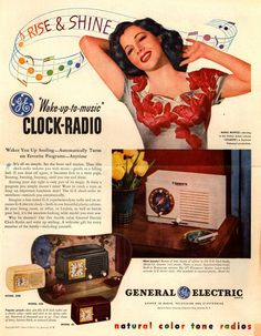 "General Electric Company's GE Clock Radios – ""Wake-up-to-music"" Clock-Radio Vintage Advertisements, Vintage Ads, Vintage Posters, Vintage Music, General Electric, 1950s Radio, Radios, Music Clock, Radio Advertising"