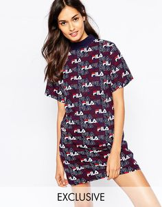 Image 1 ofFila High Neck T-Shirt Dress With All Over Logo Print