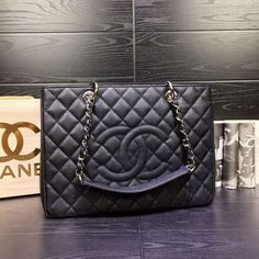 Chanel GST Black ball Silver and Gold