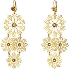 Gas Bijoux Neige Mini 24kt Gold Plated Embellished Chandelier Earrings (760 CNY) ❤ liked on Polyvore featuring jewelry, earrings, gold, dot jewelry, dot earrings, gas bijoux, long chandelier earrings and long dangle earrings