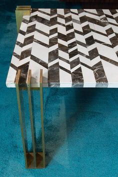 1970s Marble Intarsio and Brass Coffee Table 2