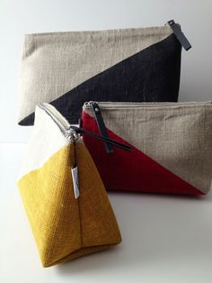 graphic linen bags cosmetic bags #beachchic #beachstyle #modernpalm modernpalm.com