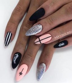 80 Matte Black Coffin Almond Nails Design Ideas To Try Almond Nails Designs, Black Nail Designs, Stylish Nails, Trendy Nails, Swag Nails, My Nails, Matte Nails, Stiletto Nails, Acrylic Nails Almond Matte