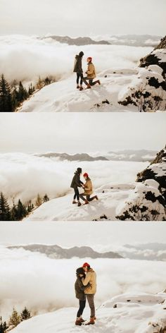 He asked her to marry him on a snowy mountain above the clouds, and it's such a stunning proposal! - This Couple's Proposal in [What Looks Like] Heaven is Unreal. You Have to See The Rest of These Photos. Winter Proposal, Romantic Proposal, Perfect Proposal, Romantic Weddings, Winter Weddings, Best Wedding Proposals, Marriage Proposals, Wedding Couples, Wedding Poses
