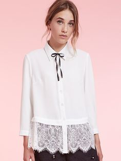Dahlia Florence Swing Blouse with Lace Hem and Neck Tie