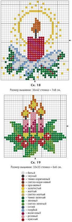 Candle Christmas cross stitch.
