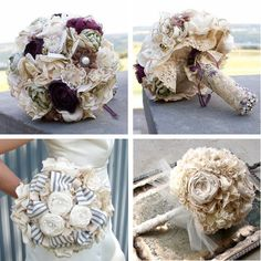 Fabric wedding bouquets :: - I am obsessing over the idea of a fabric bouquet! Perfect for the bride who hates flowers, but loves the look of a traditional bouquet (aka: me). The question is.to make or to buy? Wedding Fabric, Floral Wedding, Diy Wedding, Wedding Flowers, Dream Wedding, Wedding Day, Wedding Stuff, Lace Wedding, Diy Flowers
