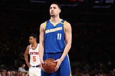 Klay Thompson of the Golden State Warriors shoots a free throw against the New York Knicks on March 5 2017 at Madison Square Garden in New York City...