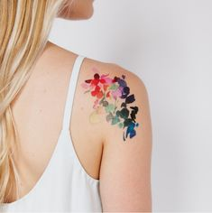 Abstract floral tattoo all those beautiful souls tattoos, ab Back Of Shoulder Tattoo, Shoulder Tattoos For Women, Flower Tattoo Shoulder, Sleeve Tattoos For Women, Tattoos For Older Women, Women Sleeve, Feminine Tattoo Sleeves, Feminine Tattoos, Flower Tattoo Sleeves