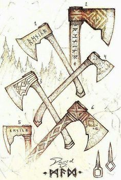 I love Nordic and old Celtic items even if sometimes they're a little creepy. Axe Drawing, Conquest Of Mythodea, Viking Axe, Battle Axe, Medieval Weapons, Norse Vikings, Viking Tattoos, Fantasy Weapons, Norse Mythology
