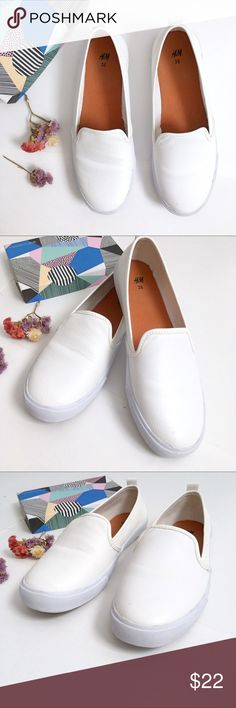 H&M faux leather White Slip On Shoes EUC worn one time- all white slip in shoes with rubber non slip sole size 7 US 38 EUR Faux white leather. Please see all photos ! H&M Shoes Flats & Loafers