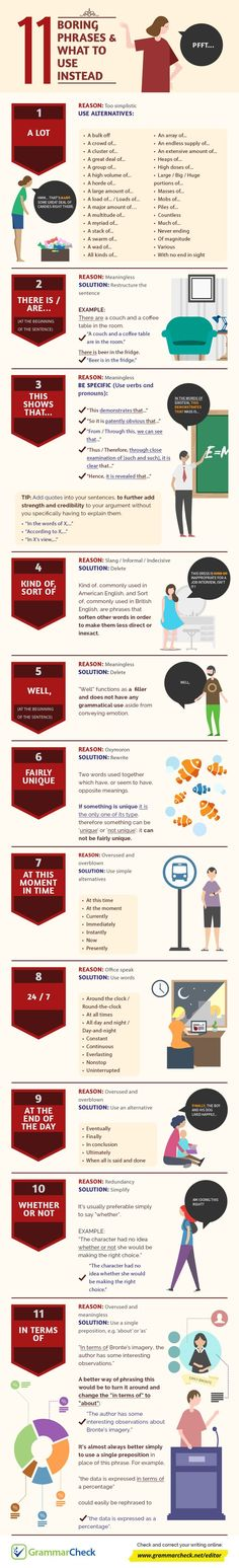 Educational infographic : 11 Boring Phrases & What to Use Instead (Infographic)