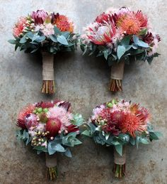 are lovely. Like the textures but feel like it needs more bigger petalled flowers? Not sure whether bouquet or if cost effective for centrepieces. Protea Bouquet, Fall Wedding Bouquets, Bride Bouquets, Floral Wedding, Bridesmaid Bouquets, Spring Bouquet, Flower Bouquets, Purple Wedding, Unique Weddings