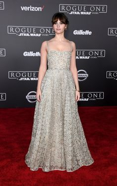 Felicity Jones In Christian Dior At 'Rogue One: A Star Wars Story' LA Premiere
