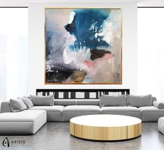 This blue and beige oversized wall art will beautifully complement an interior with neutral decor elements. Horizontal composition and size make it perfect addition for a living room, bedroom, or dining room. This item is fully handmade, painted with acrylic paints on canvas, varnished, signed and