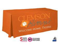 Clemson Alumni Custom Printed Tablecloth.