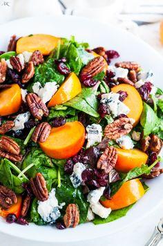 Candied Pecan Persimmon Gorgonzola Salad | aberdeenskitchen.com