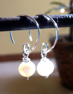 Cultured Pearl and Sterling Silver Coil Dangle by kbdesignworks, $20.00