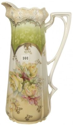 """13 1/4"""" UNMARKED PRUSSIA STIPPLED MOLD TANKARD : WHITE, CREAM AND GREEN TONES WITH YELLOW ROSE MOTIF"""