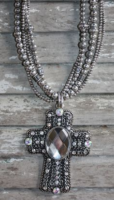 Giddy Up Glamour  Large Silver Cross Necklace with Crystals  $21.95