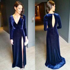 Anthea Pellow Navy Blue Velvet Long-sleeved Prom Dress 2015 Brownlow Medal Red Carpet