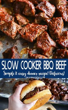 Slow Cooker BBQ Beef is a simple & easy dinner recipe the whole family will love. If you love a tender cubed beef smothered in bbq sauce - this will be your new favorite meal. recipes for dinner cubed Slow Cooker BBQ Beef Bbq Beef Crockpot, Slow Cooker Bbq Beef, Crock Pot Slow Cooker, Diced Beef Recipes, Roast Beef Recipes, Roast Beef Sandwich, Bbq Beef Sandwiches, Slow Cooking, Cooker Recipes