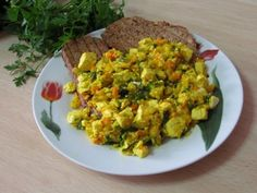 Tofu scramble that tastes great. Sometimes I add cooked quinoa for a bit more protein.