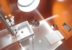 Duravit - Bathroom design series: Vero - washbasins, toilets, bidets and bath tubs from Duravit. See toilet and wall mount flush mechanism Bathroom Sink Faucets, Bathroom Fixtures, Mini Bad, Vanity Basin, Guest Bathrooms, Bathroom Ideas, Small Bathrooms, Bath Ideas, Black Furniture