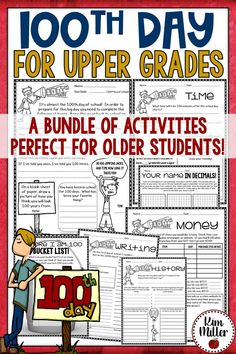 Day of School for Upper Grades! Day classroom activities for older students. Teaching Activities, Classroom Activities, Classroom Ideas, Teaching Ideas, Teaching Resources, Time Activities, Teaching Math, Learn Math Online, 100 Day Celebration