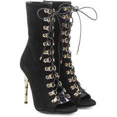 Balmain Lace Up Suede Boots ($1,440) ❤ liked on Polyvore featuring shoes, boots, black, balmain boots, peep-toe boots, stiletto boots, black suede shoes and lace up peep toe boots