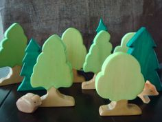 Handmade wooden trees for playing or nature table.