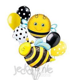 7 pc Friendly Bumblebee Balloon Bouquet Honey Bee Happy Birthday Baby Shower