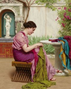 A Stitch in Time or A Stitch is Free by J.W. Godward.  I'm In Heaven