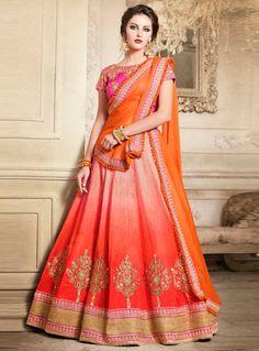 Traditional look festive wear shaded orange lehenga choli Orange Lehenga, Pink Lehenga, Lehenga Saree, Anarkali, Lehenga Skirt, Lehnga Dress, 1920s Fashion Women, Indian Fashion, Indian Wedding Outfits