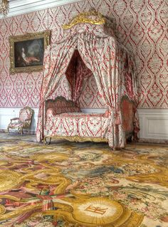 Chambre de la dauphine (1747) - Marie-Josèphe de Saxe, daughter of the king of Poland Auguste III and wife of the son of Louis XV at Palace of Versailles. The painting on the wall is of Marie Adelaide of France, daughter of Louis XV as the goddess Diana, by Jean Marc Nattier, 1735. See above on this board for the Dauphine's portrait.