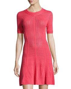 Alena Pointelle Short-Sleeve Dress, Bright Poppy by BCBGMAXAZRIA