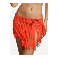 Orange Macrame Fringe Bikini Bottom (€16) ❤ liked on Polyvore featuring swimwear, bikinis, bikini bottoms, fringe bikini, crochet bikini, macrame bikini, fringe swimwear and bottom bikini
