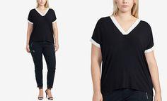Lauren Ralph Lauren Plus Size Cap-Sleeve V-Neck Jersey Top - Tops - Plus Sizes - Macy's