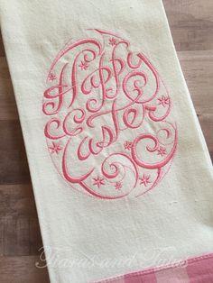 Easter Dish Towel, Easter Kitchen Decor, Kitchen Dish Towel, Easter Gift, Kitchen Gift, Gifts for Her 2017, Embroidered Kitchen Towel by elainestiarasntutus on Etsy