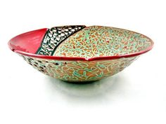 Large Fruit Bowl, Decorative Bowls, Pottery, Clay, Hand Painted, Red, Collection, Home Decor, Ceramica