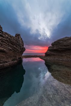 my Way, by isamTelhami... #sky #red #sea #sunset #water #beach #blue #light #clouds #rocks #green