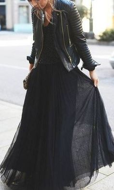 Black tulle and leather