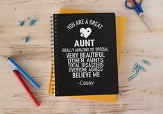 Personalized Aunt Notebook, FUNNY Gift for Aunt, Trump2020, Spiral Notebook Journal College Ruled, Black Notepad Special Birthday Gifts, Birthday Gifts For Her, Toddler Boy Gifts, Rapper Quotes, Mailing Envelopes, Aunt Gifts, Boyfriend Birthday, Christian Gifts, Journal Notebook